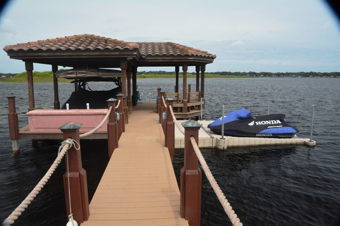 Covered Dock w Lift and Jet Ski Launch